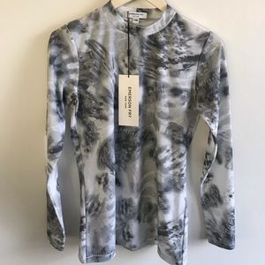EMERSON FRY Tie-Dye Tech Active Top Gray Blue